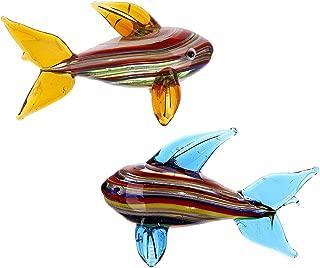 Crystalsuncatcher 2PCS Handmade Miniature Fish Animals Collection Art Glass Blown Sea Animal Figurine