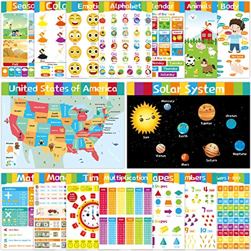 16 Educational Posters Laminated Poster for Kids Wall Preschool Classroom Decoration Toddlers Kindergarten Homeschool Supplies