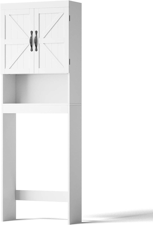 SRIWATANA Over The Toilet Storage Cabinet, Bathroom Spacesaver with Adjustable Shelf, 2-Door Toilet Storage Rack, White