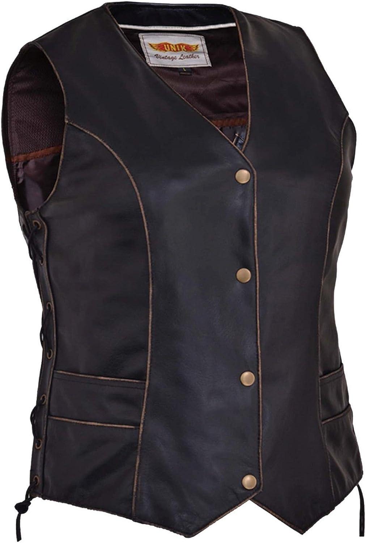 Unik Womens Biker Vintage Distressed BRN Side Lace Classic Premium Leather SNAP Vest