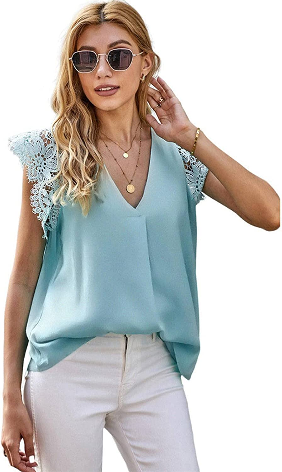 Summer New Ladies Fashion European and American Lace Stitching Vest Solid Color V-Neck Jersey Sleeveless Top