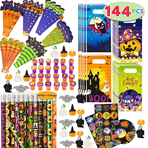 JOYIN 144 Piezas, 24 Unidades, Surtido de Artículos de Papelería Temática de Halloween, incluye Lápices, Reglas, Pegatinas, Sellos y Borradores en Regalo para Niños Truco o Trato