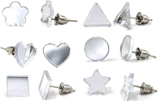 Aashya Mayro Combo of 6 Pairs of Trendy Clear Mirror Soft Edges Silver Plated Stud Earrings for Women & Girls