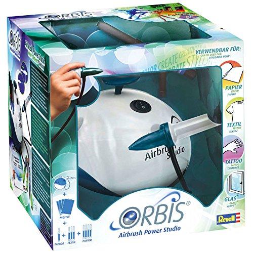 Orbis 30010 Airbrush Power Studio, Komplett-Set inkl. Kompressor und Zubehör, Patrone einstecken und lossprühen, Airbrushsystem für Kinder und kreative Erwachsene, kinderleicht und sauber
