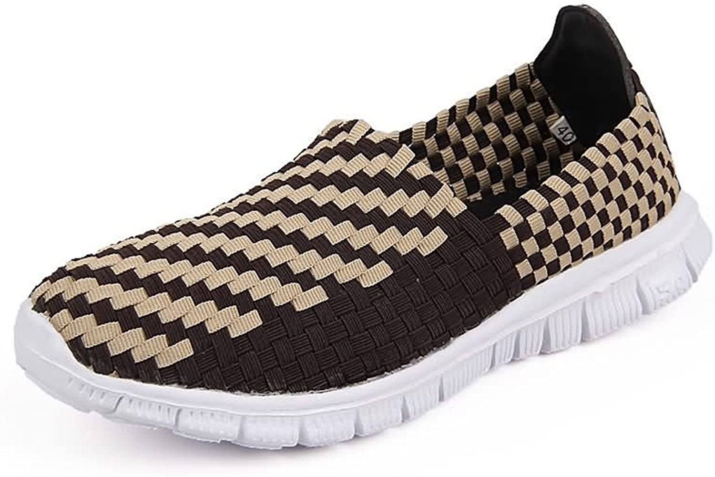 Battle Men Women and Men's Athletic shoes Grid Pattern Slip On Splice Vamp Leisure Fashion Sneaker Fashion (color   Brown, Size   8 D(M) US)