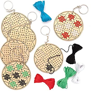 Baker Ross AT797 Football Wooden Cross Stitch Keyring Kits - Pack of 5 Introduction to Sewing Wooden Templates with Bright Colored Wool for Craft Key Chains