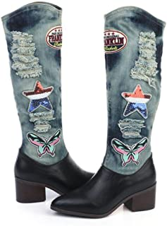 DZW botas De Mujer Sobre La Rodilla botas De Muslo botas De Mezclilla De Moda botas De Seoras Zapatos De Tacón Alto De Mezclilla De Gran Tamao botas Martin,Delgado