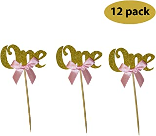 Glitter Gold 1st Birthday Party Decoration. One Cupcake Cake Topper With Pink Bow 12CT. …