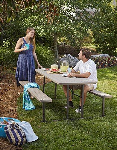 COSCO 87902GRY1E Outdoor Living 6 ft. Folding Picnic Table, Gray Wood Grain
