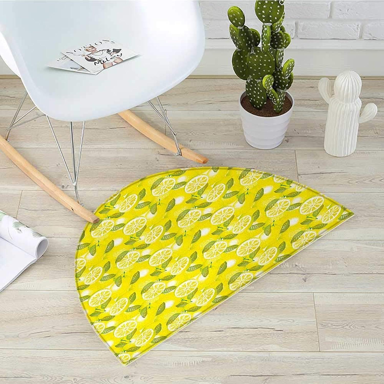 Spring Semicircle Doormat Fresh Lemon Slices with Leaves Background Soft Fruit Summer Tasteful Design Halfmoon doormats H 35.4  xD 53.1  Yellow Fern Green