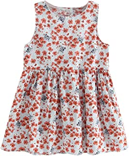 Sleeveless Dress Cute Backless Floral Print Girls Clothing (Orange 18-24M) by SturdCelle