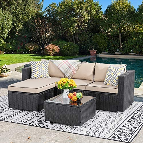 Best Walsunny Outdoor Furniture Patio Sets,Low Back All-Weather Small Rattan Sectional Sofa with Tea Tabl