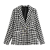 HOSD Vintage Blazer de Tweed de Pata de Gallo con Doble Botonadura Abrigo Mujer 2019 Moda Borla Plaid Damas Ropa de Abrigo como Imagen L