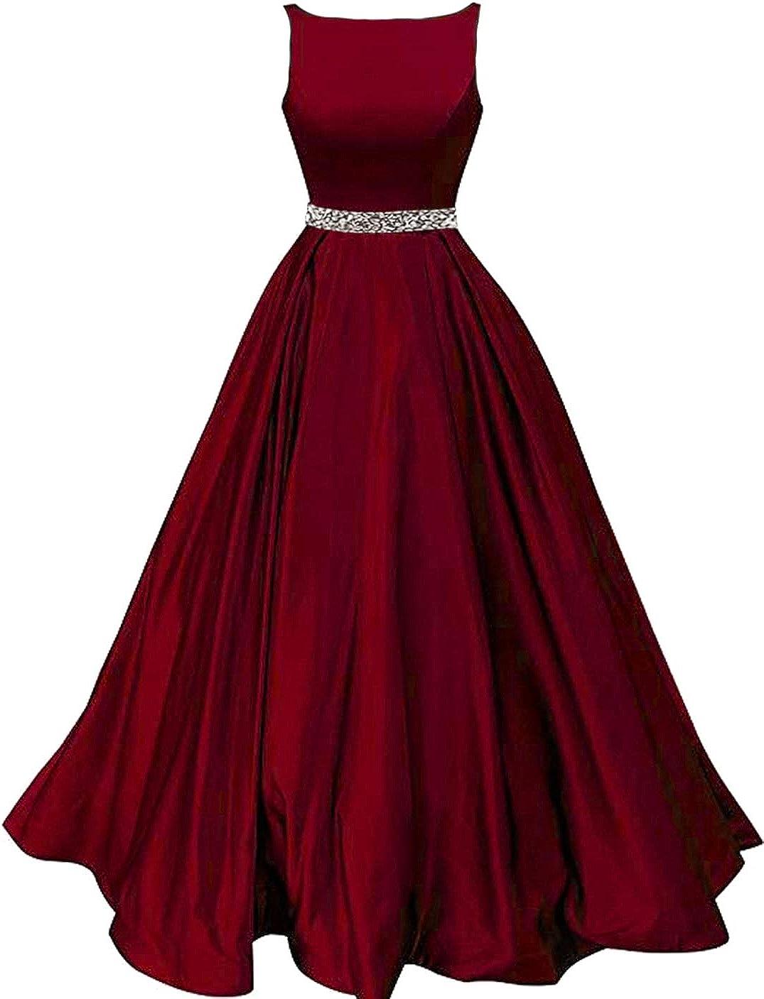 Bobi Bridal Women's A-Line Prom Dress With Pockets Satin Belt Evening Gowns Long