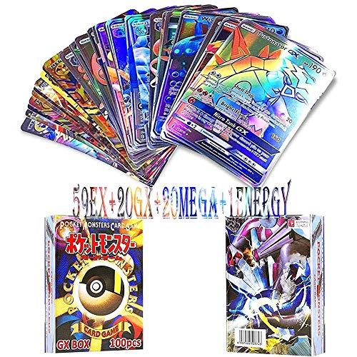 LICHENGTAI Carte Pokemon, 100 Pezzi Carte Pokemon GX, Carte Pokemon Vmax, Pokemon Flash Cards, 80EX+20GX, Carte Pokemon Box, Pokémon Card Game di Gioco per Adulti per Bambini