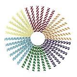 NRRN Pajitas de papel para beber, 150 pajitas de papel extra largas, coloridas y divertidas,...