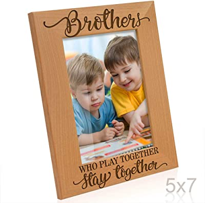 Birthday Gifts, Brothers who play together stay together Picture Frame Big Brother 4x6-Horizontal Kate Posh Engraved Natural Wood Photo Frame New Brother,
