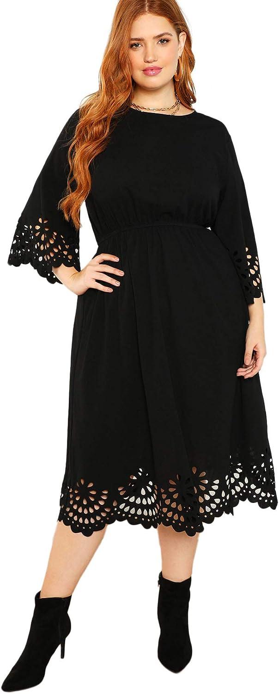 Romwe Women's Plus Laser Cut Out Solid Scallop A-line Dress
