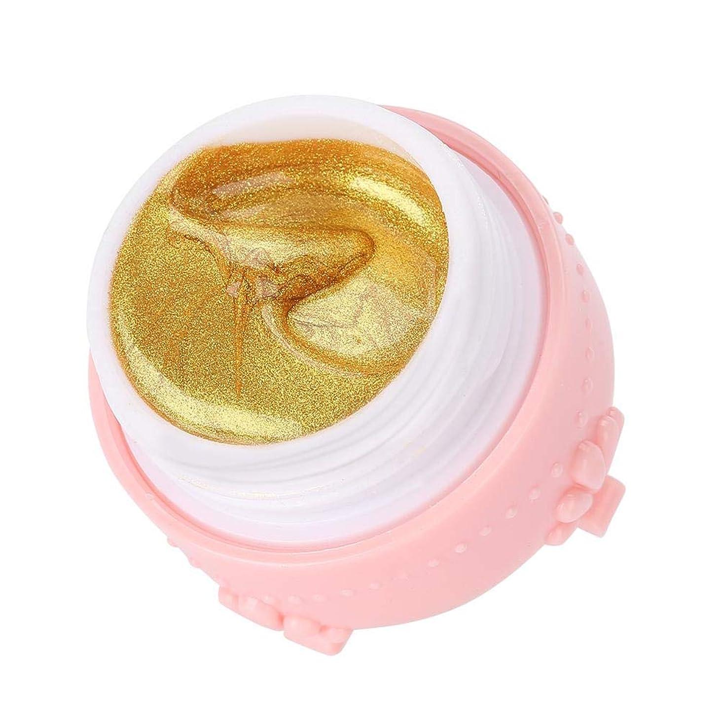 持ってる液化するなかなかジェルネイル キラキラ素敵な 3DネイルUVジェル 強力な接着 女性 良い贈り物(金色)