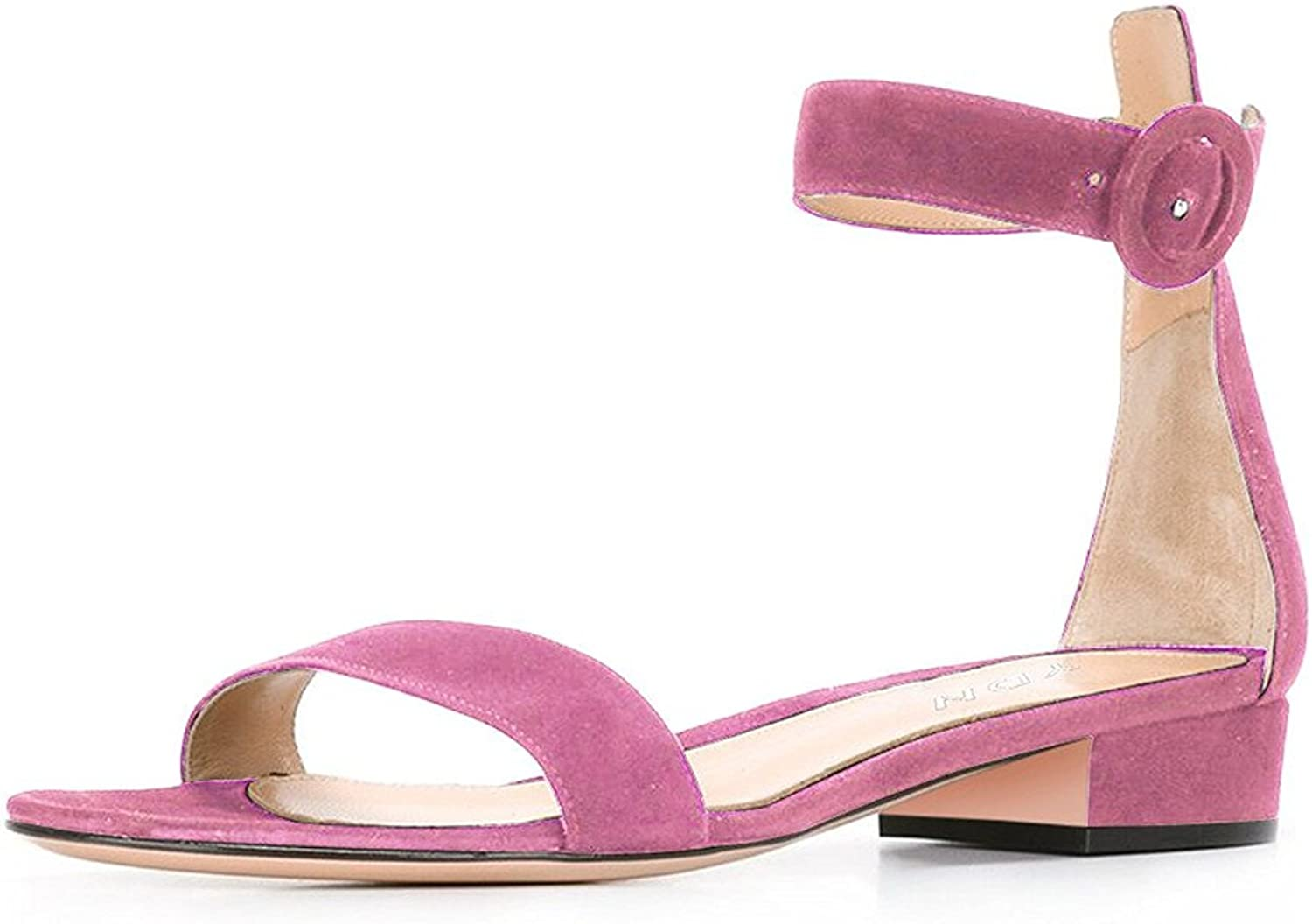 YDN Women Low Heeled Ankle Strap Sandals Open Toe Block Flat shoes with Buckle