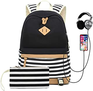 Sqoto Backpack Bag, Canvas Girls Bookbag with USB Charger Port and Pencil Case Black Laptop Backacpk for 14 Inch Striped T...