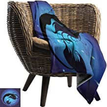 Mermaid Super Soft Blankets Silhouette of Legendary Aquatic Girl on Moon Sky Background Fictional Print Sofa Chair QueenFull