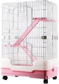 Plus Nao(プラスナオ) 小動物ハウス ゲージ ペット用品 小動物用品 フェレット チンチラ ハムスター 移動式 タイヤロック 3層 お手入れ簡単 - ピンク
