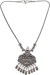Boho Vintage Antique Ethnic Gypsy Tribal Indian Oxidized Silver Statement Pendant Necklace Jewelry