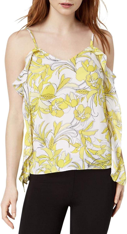 Bar III Ruffled Printed Floral Top (Prairie Yellow, M)