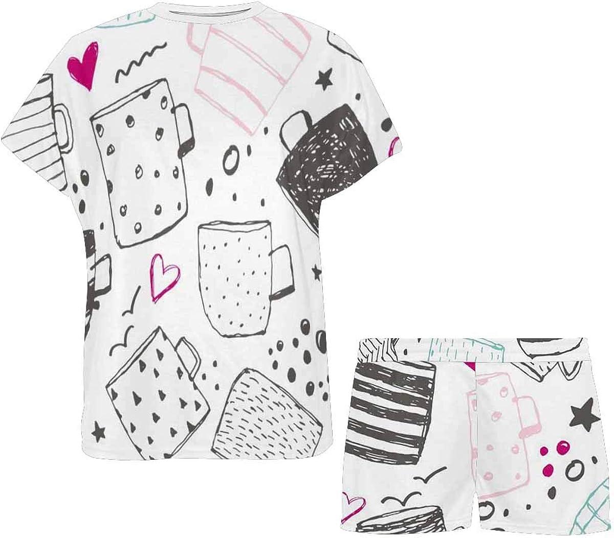 INTERESTPRINT Mug Pattern Women's Pajamas Short Sets Round Neck Short Sleeve Sleepwear
