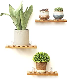 Rerii Wall Display Shelves, 3-Tier Natural Bamboo Flower Potted Plant Stand, Floating Shelf for Home, Office - 9.8