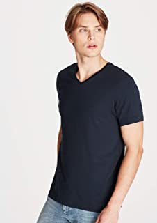 V Yaka Lacivert Tişört