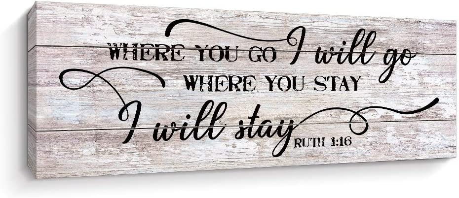 Ruth 1:16 Love Quote Scripture Sayings Wall Art, Motivational Wedding Home Wall Décor, Beige, 5.5 x 16.7 inch