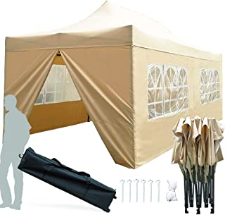 KingShade 10x20 Canopy Tent, Heavy Duty Commercial Pop Up Canopies, Waterproof Outdoor Wedding Tents with Walls and Roller Bag-Beige 10'x20'