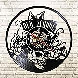 Traditional skull tattoo CD record clock vinyl clock handmade wall hanging art clock tattoo style old school rose antique LED clock