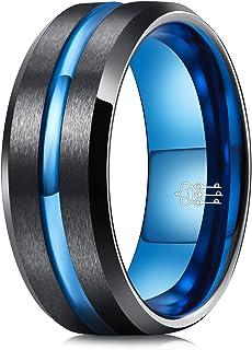ثلاثة مفاتيح مجوهرات رجل 8 مم أزرق فضي أسود تنجستين خاتم الزفاف للرجال أزياء خواتم الخطوبة ماتي إنهاء مركز الأخدود