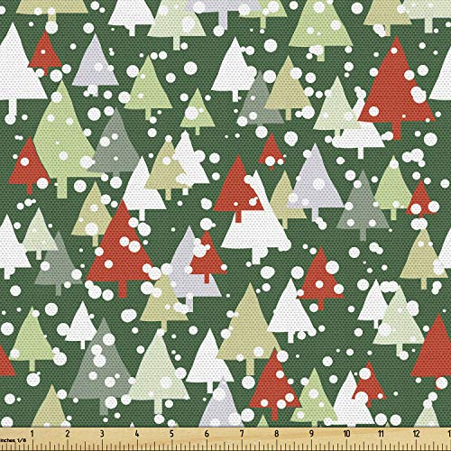 Ambesonne Winter Fabric by The Yard, Christmas Forest with Pine Trees Snowing Silhouette Style Pattern, Decorative Fabric for Upholstery and Home Accents, 1 Yard, Emerald Vermilion