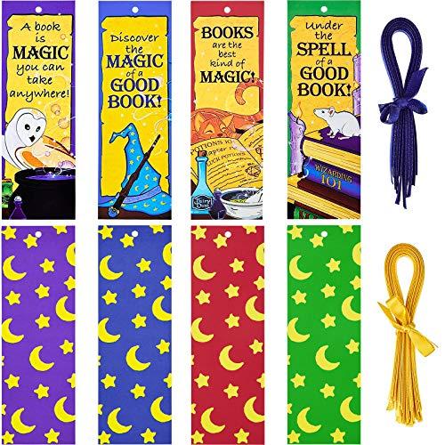Marcadores de Libro de Academia de Magos Marcapáginas Laminadas Mágicas para Niños Fiesta Temática de Magos Regalos, Premio de Aula de Profesores (36)