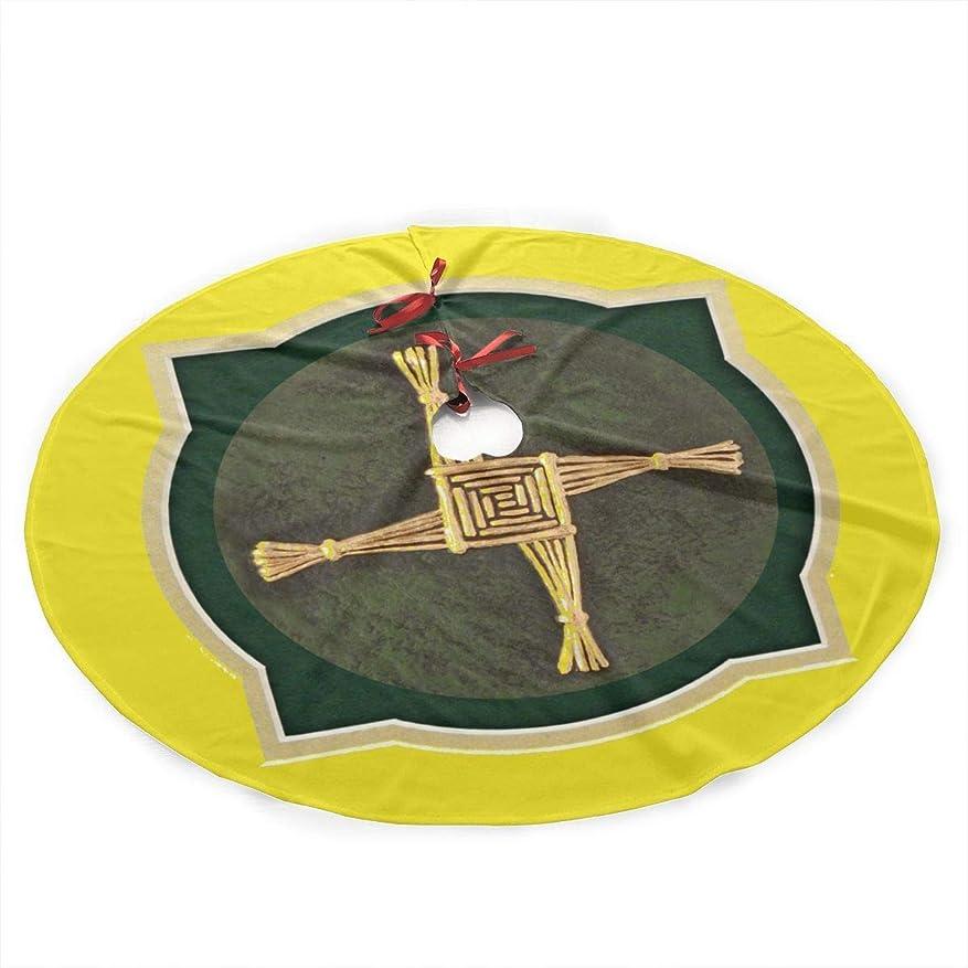 スケッチティッシュチキンSt Saint Brigid Cross Pagan Wicca Under Christmas Tree Skirt Carpet Mat Rugs Protective Cover Themed Round Pad Classic Xmas Ornament Decoration (48 Inch)