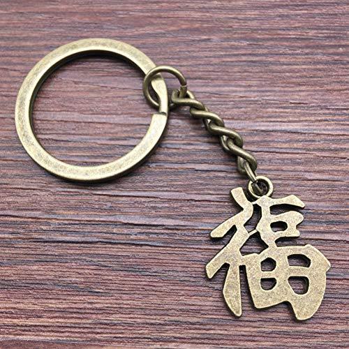 TAOZIAA Schlüsselring Chinesisches Schriftzeichen Fu Schlüsselbund 23x20mm Antike BronzeMode Handgemachtes Metall Keychain Souvenir Geschenke für Frauen