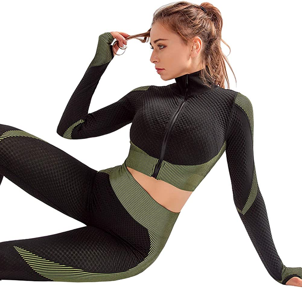 QCHENG Womens Workout Sets 2 Piece Front Zip Long Sleeve Crop Top and Seamless Leggings Set Gym Clothes Yoga Outfits
