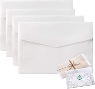5x7 Envelopes for Invitation, 50 Pack White Translucent Paper Wedding Envelopes, Gift Card Window Envelopes, Greeting Card...
