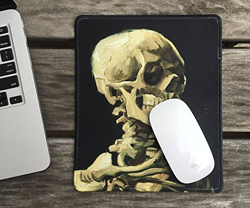 dealzEpic - Art Mousepad - Natural Rubber Mouse Pad with Famous Painting of Skull of a Skeleton with Burning Cigarette by Vincent Van Gogh - Stitched Edges - 9.5x7.9 inches Photo #5