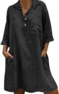FAPIZI Women Summer Retro Solid Loose Bohemian Linen Ethnic Shirtdress Casual V-Neck Pockets Ladies Dress