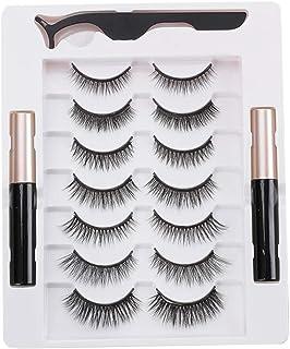 Cílios postiços, cílios magnéticos com eyeliner 7 pares de cílios magnéticos e eyeliner cílios com aspecto natural vem com...