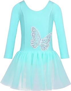 CHICTRY Kinder Ballettanzug Langarm Ballett Trikot Tanzbody mit Röckchen Mädchen Kleider Tanzkleid mit Schmetterling Muster Gr. 98-140