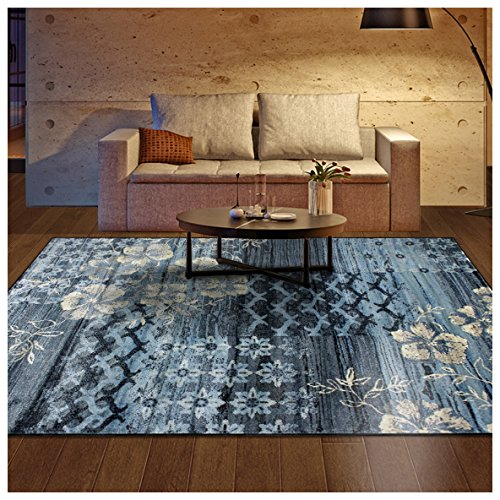 Superior Kennicot Collection Area Rug, 10mm Pile Height with Jute Backing, Fashionable and Affordable Rugs, Floral Geometric and Striped Design - 5' x 8' Rug, Blue and Beige
