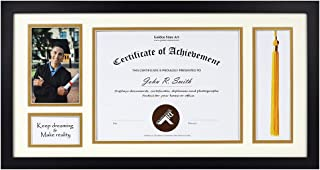 11x22 Black Shadow Box - for 8.5x11 Diploma, 4x6 Photo - Tassel Holder - Ivory Over Gold Double Mat - Graduation Theme - Sawtooth Hangers - Wall Mounting - Landscape Portrait - Real Glass - Frame