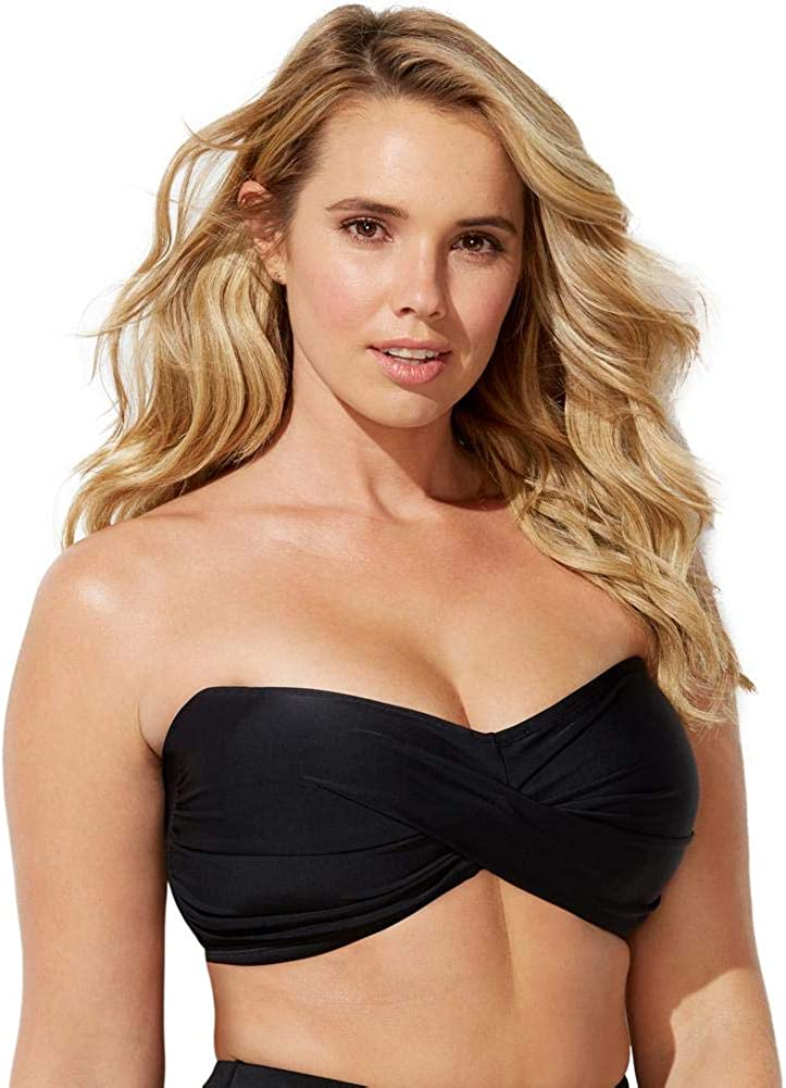 Swimsuits For All Women's Plus Size Valentine Ruched Bandeau Bikini Top