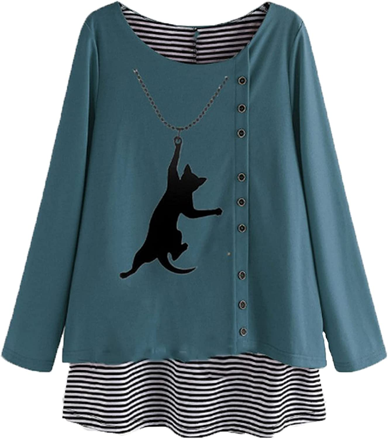 Plus Size Tops for Women Cute Cartoon Cat Graphic Blouse Tees Long Sleeves T Shirt Stripe Patchwork Button Pullover